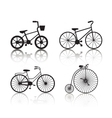 set of black bicycles silhouettes icons vector image