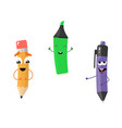 set of funny characters from pencil marker pen vector image vector image