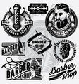 set of templates for barbershop barbershop logo vector image vector image