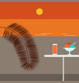 sunset beach and cafe vector image vector image