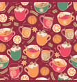super cute red hygge christmas hot drinks and vector image