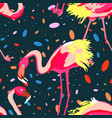 tropical seamless pattern with flamingos vector image