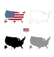 USA country black silhouette and with flag on