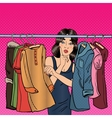 Woman Choosing Clothes in her Wardrobe Pop Art vector image vector image