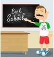 Crying boy in school vector image