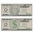 Hundred dollar bank notes vector image