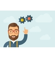 Man pointing the gears icon vector image