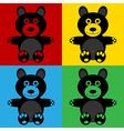Pop art bear icons vector image