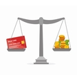 scale with money isolated icon vector image