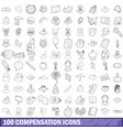 100 compensation icons set outline style vector image vector image