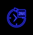 24 hours service neon sign bright glowing symbol vector image