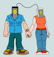 a pair of young people with gadgets man and woman vector image vector image