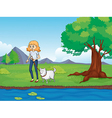 A woman with a dog walking along the river vector image