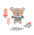 baby bear cute animal in the woods vector image