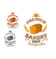Bakery shop emblem with bread and wheat ears vector image vector image