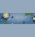 blue christmas banner decorative design with gift vector image