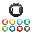 camp cup icons set color vector image vector image