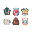 camping backpacks set necessary equipment vector image vector image