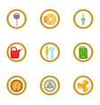 car repair icons set cartoon style vector image vector image