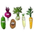Cartoon fresh funny vegetables vector image vector image