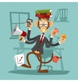 Cartoon monkey business man stress dancing vector image