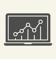chart on laptop solid icon graph on monitor vector image vector image