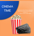 cinema time popcorn concept background realistic vector image