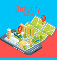 concept of delivery online smartphone background v vector image