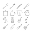 Cooking and kitchen tools line icons vector image vector image