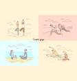 couple yoga man and woman meditation on nature vector image vector image