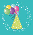 cute hat party with balloons air vector image