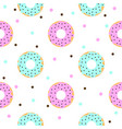 donuts with pink and blue icing and chocolate vector image