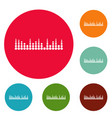 equalizer musical radio icons circle set vector image vector image
