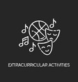 extracurricular activities chalk white icon vector image