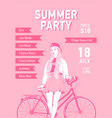 flyer or poster template with young woman dressed vector image