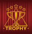 golden trophy cup in triangle five stars vector image vector image