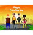 group of four happy diverse friends walking with vector image vector image