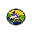 Hand Holding Grapes Raisins Oval Woodcut vector image vector image