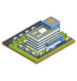 isometric city hospital and a line ambulances vector image vector image