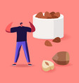 man fitness workout with hazelnuts around source vector image