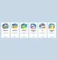 mobile app onboarding screens morning breakfast vector image vector image