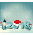new year background with a 2018 and santa hat vector image vector image