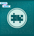 puzzle icon on a green background with arrows in vector image