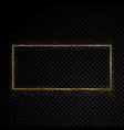 rectangle sparkle golden frame isolated on black vector image
