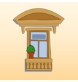 Retro style window exterior with a plant vector image