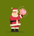 santa claus hold piggy bank money savings merry vector image