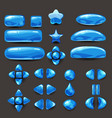 set game ui complete blue menu of graphical user vector image vector image