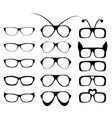 set of glasses frame in fancy style vector image vector image