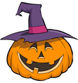 smiling pumpkin in hat vector image vector image