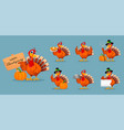 thanksgiving turkey set seven poses vector image vector image